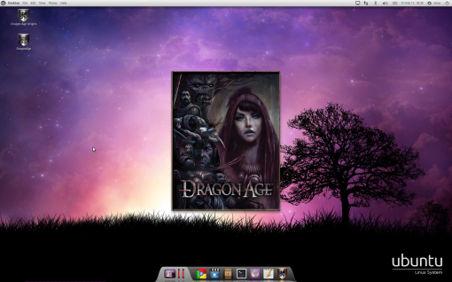 Startup screen of Dragon Age on Ubuntu Linux.