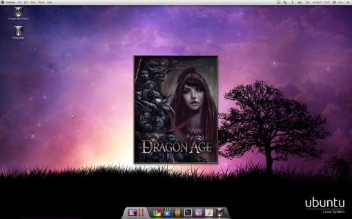Startup screen of Dragon Age on Ubuntu Linux.